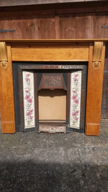 Cast Iron Victorian Fireplace With Ornamental Tiles In Chichester