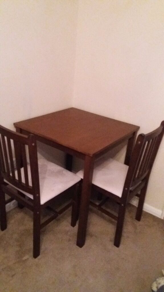 Table n 2chairsin Wimborne, DorsetGumtree - Small table n 2chairs ideal for flat or small space. No marks or scratches 3months old .form smoke pet free home