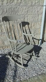 Light grey rocking chair in chalk paint