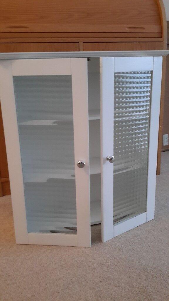 Bathroom Cabinet White Wood With Glass Panel Doors In Swansea