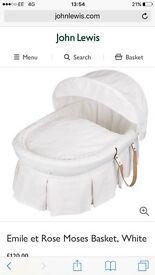 Emile et Rose Moses Basket, White And jhon Lewis stand white used but I good as new condition