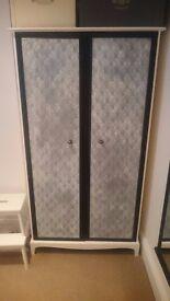 Beautiful upcycled wardrobe shabby chic painted + lace effect - £110 ONO