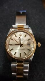 Mint condition original Men/ Unisex Steel/ Gold Rolex date circa 1990 with Certificate