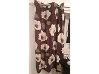 1 pair purple flowery curtains