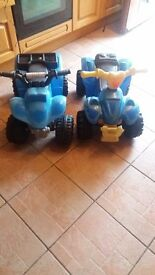 Two childrens quads with chargers