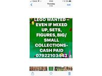 Lego Wanted - Even if mixed up - Large collections,figures,Cash Paid - Can collect