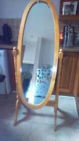 Pine mirror floor standing