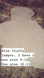 Baby blue fluffy hoodys
