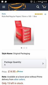 Single red rizla. Box of 100 booklets