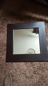 for sale Lovely glass mirror, with brown leather edge ONLY 6 MONTHS OLD