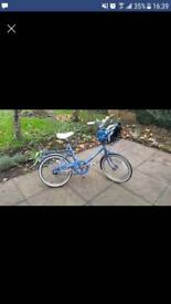 VINTAGE Blue Raleigh Bike, with metal basket at front. (Reduced Price)