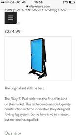 Riley 5ft folding pool table, pool balls, snooker balls and cues