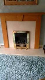 Solid Oak & Marble Fireplace Surround