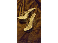Clear perspex pole dancing stripper shoes size 7