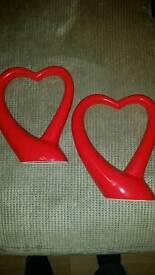 2 Red Decorative Love Hearts