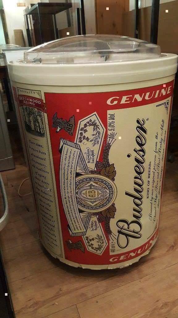 Rare Vintage Budweiser Round Drinks Cooler Fridge