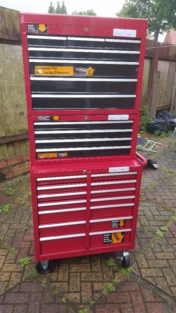 18 drawers halfords professional tool box storage in. Black Bedroom Furniture Sets. Home Design Ideas