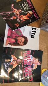 Wrestling videos and DVDs and books