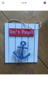 New Shabby Chic Memo Clip Plaque Anchor Sailor Theme Don't Forget Reminder Home Decor New With Tags