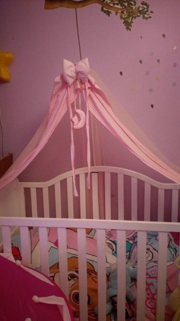 Baby Cot Bed Junior Bed With Memory Foam Mattress And Canopy In