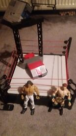 Wwe wrestling ring with figures