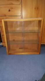 Wooden and glass display cabinet shelf
