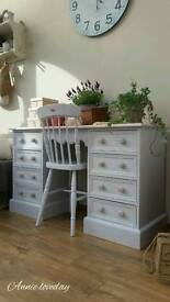 Rustic Solid Pine Desk / Dressing Table & Chair