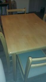 Rubber wood dining table & 4 chairs