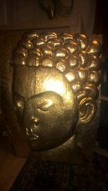 GOLD (coloured) HAND CARVED WOODEN BUDDHA