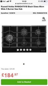 5 burner gas on glass gas hob by Russell hobbs