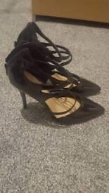 Black strap heels size 6 new