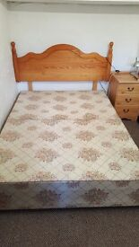 Double divan bed with four drawers