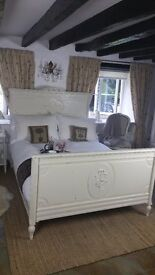 Antique French Double Bed Circa 1920s.Newly painted in Farrow and Ball and newly upholstered .