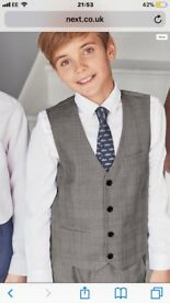 Boys Next grey pants, waistcoat, white shirt and blue tie age 11