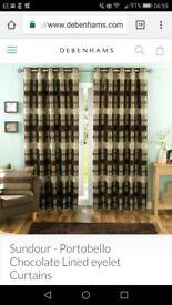 Sundour - Sundour Portobello Chocolate Lined eyelet Curtains (229cm X 183cm)