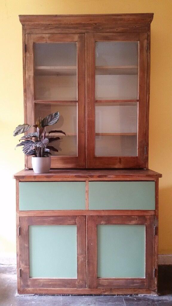 Vintage Welsh Dresser Display Cabinet Cupboard Antique Solid Wood Green Panels