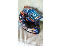 USED MOTOR CROSS/SUPERMOTO HELMET BY LAZER BLUE/WHITE GOLD( BADGE ON REAR) including helmet bag