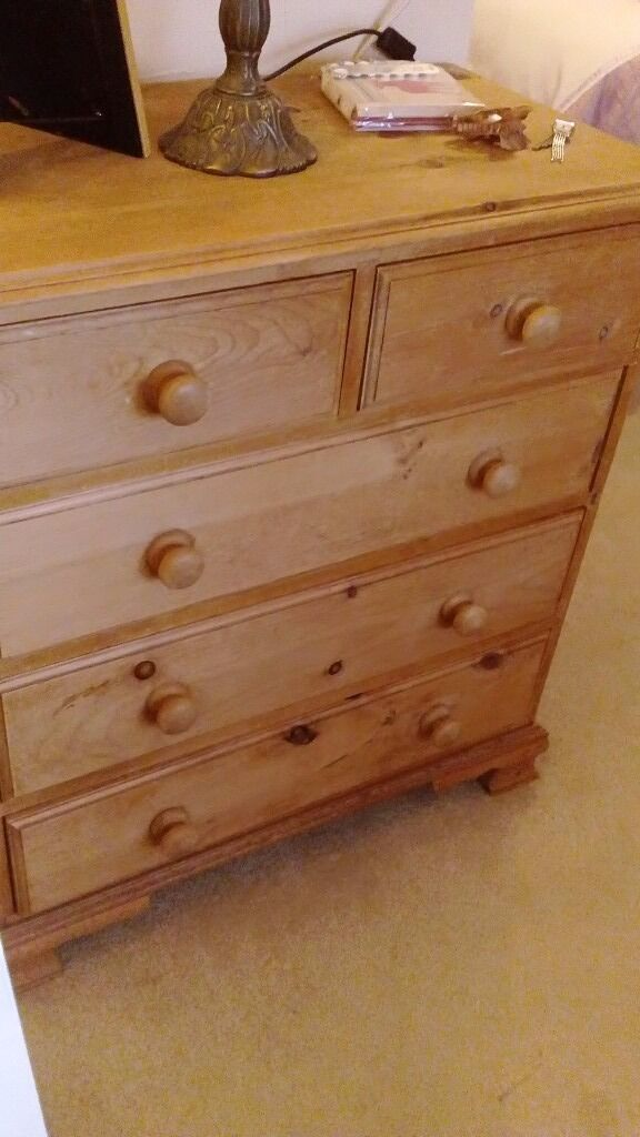 Hard wood chessed of draws .wardrope. Small desk .