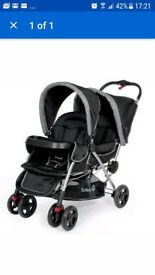 Brand New safety 1st double pushchair in black/ red