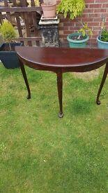 half circle wooden table