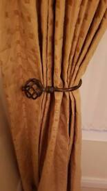 Beautiful good quality curtains, pole and tie backs