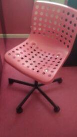 IKEA pink swivel adjustable height desk chair