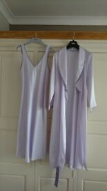 M&S Pale Lilac Satin Dressing Gown/Nightie Set