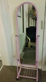 Standing mirror pink colour