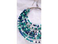 Aqua, blue, white hoop earrings