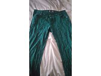 Size 8 Black and green stripped jeans