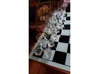 Beautiful shot glass chess set