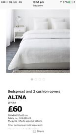 IKEA 'Alina' cream bedspread, NEW (never used as too big for our bed).
