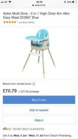 Keter Blue 3 in 1 Highchair