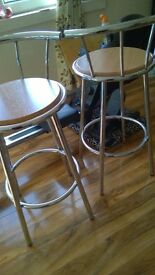 wood and silver chrome stainless steel bar stools pair 27 inch height